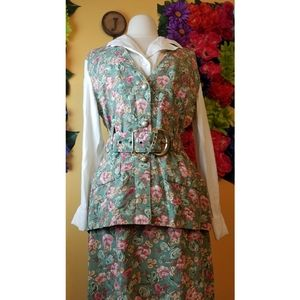 VTG Victoria Ashley two piece floral skirt suit- 9